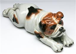 Sale 9144 - Lot 5 - A crackle glaze ceramic resting dog figure (L:37cm)