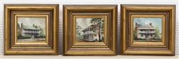 Sale 9155H - Lot 85 - A set of three oil on board paintings depicting  buildings in Berrima, Paramatta, and George Street. Each frame size 20x19cm