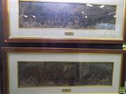 Sale 8557 - Lot 2021 - Daniel Maclise (1806 - 1870) (2 works) - Battle of Trafalgar & Waterloo 29.5 x 113.5cm, each (frame size: 63 x 147cm, each)