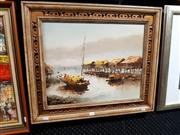 Sale 8682 - Lot 2064 - Fung Sau Fung -  Water Village acrylic on canvas board, 54.5 x 64.5, signed Peter lower left -