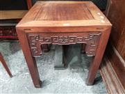 Sale 8848 - Lot 1055 - Chinese Rosewood Side Table or Stand, with geometric carved apron
