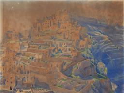 Sale 9125 - Lot 556 - Rah Fizzelle (1891 - 1964) Positano watercolour 32 x 43 cm (frame: 51 x 61 x 3 cm) signed faintly lower right, Macquarie Galleries l...