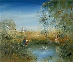 Sale 9123J - Lot 10 - David Boyd Playing by the Pond oil on board 49x59cm, signed lower left
