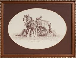 Sale 9147 - Lot 2045 - Lola Rose (1924 - 2013) - Loading Hay Bales, 1988 27 x 39 cm (oval), (frame: 38 x 50 x 2 cm)