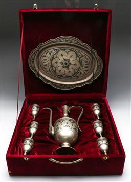 Sale 9138 - Lot 94 - A Russian Silver Eight Piece Cased Vodka Set - wt 2kg