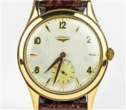 Sale 8402W - Lot 55 - LONGINES 18CT GOLD AUTOMATIC WRISTWATCH; silver white dial with gold markers and hands, subsidiary seconds, 17 jewell movement no. 7...