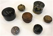 Sale 8436A - Lot 36 - A group of seven circular pill boxes including stone, leather tortoiseshell and filligree.