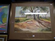 Sale 8437 - Lot 2045 - Mary Elisabeth (May) Neill (1910 - XX) Lengthening Shadows, Mossvale Watercolour 45 x 60cm signed LR, Artists Label Verso