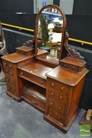 Sale 8507 - Lot 1002 - Victorian Mahogany Dressing Table with Double Pedestal & Cylinder Top to Base