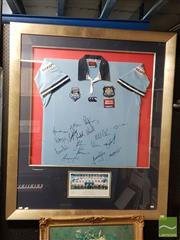 Sale 8544 - Lot 2058 - State of Origin NSW Blues signed Jersey (frame size: 134.5 x 115.5cm) -