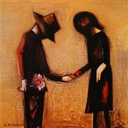 Sale 9055A - Lot 5024 - Charles Blackman (1918 - 2018) - The Meeting 28.5 x 28.5 cm