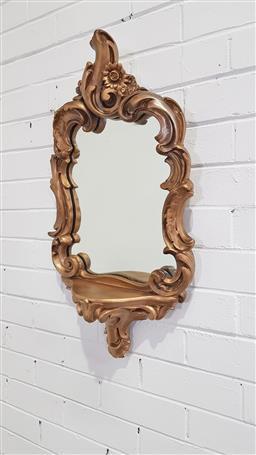 Sale 9157 - Lot 1063A - Ornate gilt framed mirror with shelf base (70x42cm)