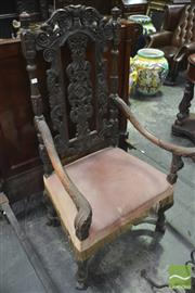 Sale 8345 - Lot 1036 - 17th Century Style Heavily Carved Iberian Armchair, with carved splat, turned supports & stretcher base