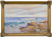 Sale 8408 - Lot 565 - William Lister Lister (1859 - 1943) - Coastal Scene with Seagulls 59.5 x 89cm