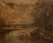 Sale 8619 - Lot 2012 - Artist Unknown (C19th) - Ferry on the Severn, Worcester 58 x 72cm
