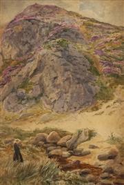 Sale 8655 - Lot 2007 - Artist Unknown (C19th) - Untitled, c1890 (Figure in Landscape), 43 x 29cm