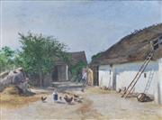Sale 8652A - Lot 5057 - Viktor Mytteis (1974 - 1936) (Austrian) - Feeding The Chickens, Villach, Austria (1902) 35 x 49cm