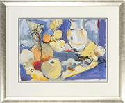 Sale 8762 - Lot 2023 - Val Landa (1940 - ) - Still Life with Yellow Cloth 42 x 59cm