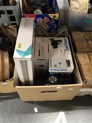 Sale 8819 - Lot 2307 - Box of Sundries incl Bauhn Wall Mounted Shelves, Pye Clock Radio, etc