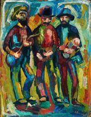 Sale 9021 - Lot 544 - Elsa Russell (1909 - 1997) - The Three Musketeers 69.5 x 53.5 cm (frame: 80 x 64 x 3 cm)