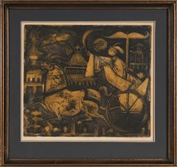 Sale 9125A - Lot 5035 - Elaine Haxton (1909 - 1999) - Riding to Peking, 1968 30 x 34 cm (frame: 45 x 47 x 2 cm)