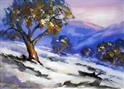 Sale 8563T - Lot 2006 - Allan Grosvenor - Sunrise on Snow, Guthega, oil on board, 29 x 39cm, signed lower left