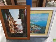 Sale 8573 - Lot 2054 - Artist Unknown, Street Scene, oil on canvas, 70 x 50cm & a framed decorative print, frame size 77 x 91cm
