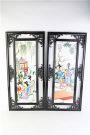 Sale 8802 - Lot 480 - Framed Set of Four Chinese Printed Panels on Tile (Length: 75cm, Width: 35cm)