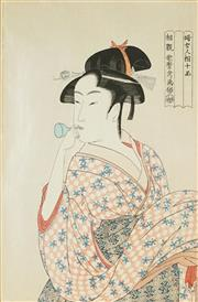 Sale 8836 - Lot 2010 - After Kitagawa Utamaro (1853 - 1806) - Woman with Pipe 28.5 x 19cm