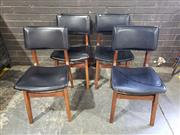 Sale 8984 - Lot 1050 - Set of Four Vintage Hardwood Chairs with Black Vinyl Upholstery (H:82 x W:44 x D:50cm)