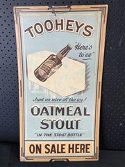 Sale 9039 - Lot 1020 - Vintage Tooheys Oatmeal Stout Advertising Board (h:67 x w:31cm)