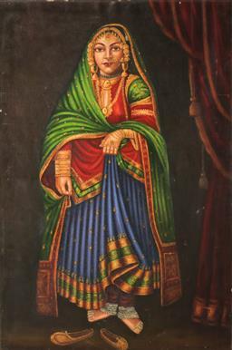 Sale 9093P - Lot 30 - Portrait of Hindu Bride Oil on Canvas (unframed 60 x 90cm