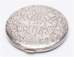 Sale 9170H - Lot 89 - A 950 silver powder case, monogrammed ANN to front, Diameter 7.5cm