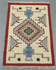Sale 8438K - Lot 64 - Jaipur Veggie Dye Kilim Rug | 154x90cm, Pure Wool, Handwoven in Rajasthan, India with a pure NZ wool composition. Fully reversible d...