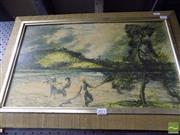 Sale 8513 - Lot 2071 - William Dobell  Wangi, signed decorative print, 34 x 66cm (frame size)