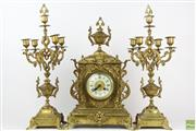 Sale 8555 - Lot 56 - French Brass Clock Garniture