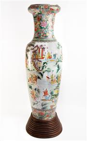 Sale 8581 - Lot 4 - A Pair of Large Chinese Porcelain Warrior Vases, From the Novel Water Margin, ( Bought at Expo Brisbane 88) (H 175cm with Stands,...