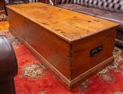 Sale 8625A - Lot 53 - An oversized vintage pine blanket box/coffee table with hinged top, H 53 x L 200 x D 73cm, with iron handles.