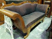 Sale 8653 - Lot 1084 - Late Biedermeier Mahogany Settee, with serpentine shaped back & lyre shaped front, upholstered in purple floral fabric
