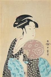 Sale 8836 - Lot 2013 - After Kitagawa Utamaro (1853 - 1806) - Woman with Fan 28.5 x 19cm