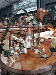 Sale 8868 - Lot 1010 - Unusual Brass and Porcelain Mounted Chandelier, with a central colourful bird probably by Porcelaine de Paris, the four ribs and a...