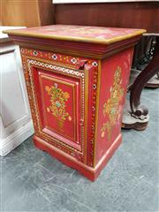 Sale 8925 - Lot 1090 - A jolly red painted floral pot cupboard