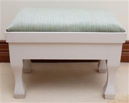 Sale 9155H - Lot 88 - A white painted timber foot stool with fabric top. Height 35cm x Width 47cm x Depth 32cm