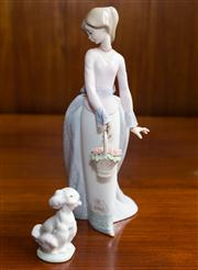 Sale 8313A - Lot 63 - A Lladro Collectors Edition figure of a lady with flowers with her poodle, marked 7622, height 26cm