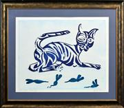 Sale 8415 - Lot 522 - Charles Blackman (1928 - ) - Tiger Tiger - Blue 60.5 x 81cm