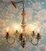 Sale 8500A - Lot 14 - A vintage 5 branch Florentine giltwood chandelier with green & gilded accents- Condition: In working order - Measurements: 48cm high...