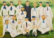 Sale 8538 - Lot 578 - Per Henry Garman-Vik (1933 - ) - Cricket Team, 1983 120.5 x 173cm
