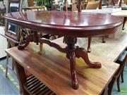 Sale 8601 - Lot 1121 - Oval Timber Coffee Table on Carved Legs