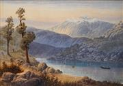 Sale 8692 - Lot 576 - Thomas (Tom) Peerless (1858 - 1896) - Fishing in Lake Wakatipu, New Zealand 43 x 60cm