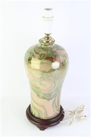 Sale 8802 - Lot 481 - Crackle Glaze Oriental Table Lamp with Marble Effect (Height: 54cm)